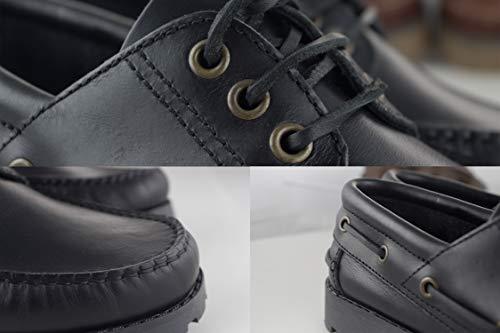 Negro Hombre Náutico para Náutico Hombre de para Tallas Grandes Zerimar Zapato Piel SaPnAvq