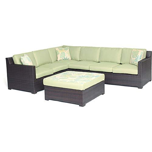 Hanover Metropolitan 5-Piece Lounge Set in Avocado Green with Protective Vinyl Cover