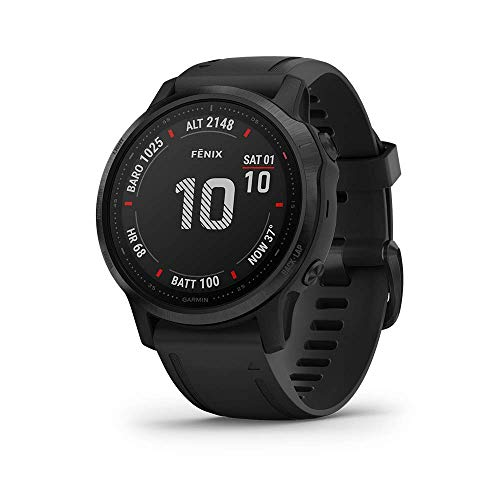 Garmin Fenix 6S Pro, Premium Multisport GPS Watch, Smaller-Sized, features Mapping, Music, Grade-Adjusted Pace Guidance and Pulse Ox Sensors, Black (Renewed)