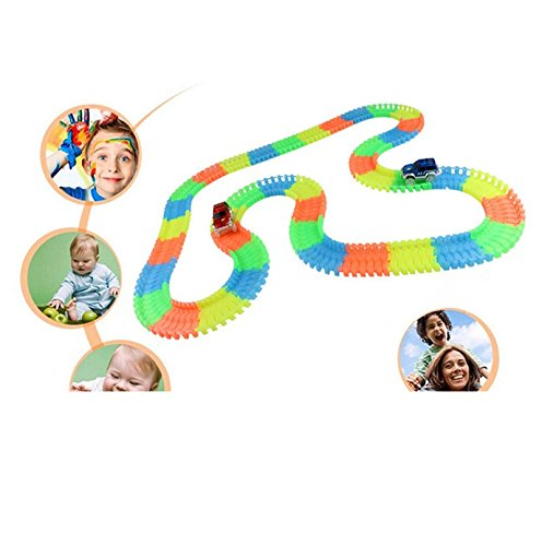 Katoot@ Magic Tracks Bend Flex Glow in the Dark kids toys Magical Race track 1pc car random color track slot toy Car for Child Gift 162pcs