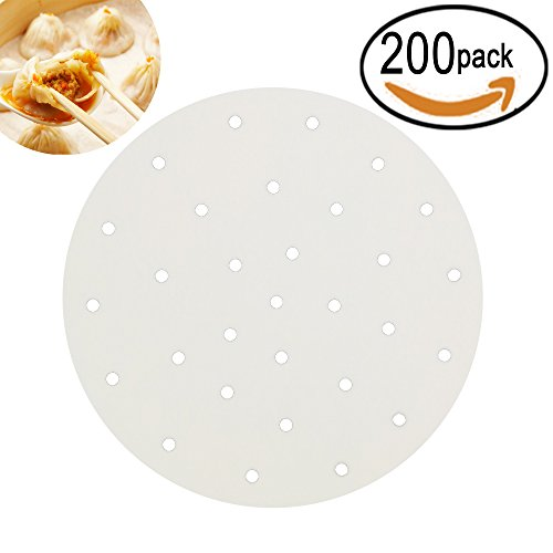 200pcs Perforated Parchment Round Bamboo Steamer Paper Liners ,diameter 9 inch Suitable for Air Fryer,Cooking, Steaming Basket, Vegetables, Dim Sum,Rice