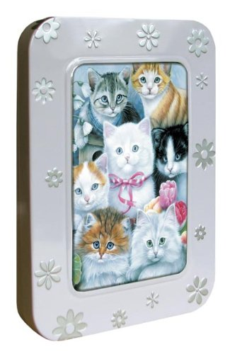 Tree-Free Greetings Noteables Notecards In Reusable Embossed Tin, 12 Card Assortment, Recycled, 4 x 6 Inches, Cuddly Kittens, Multi Color (76031)