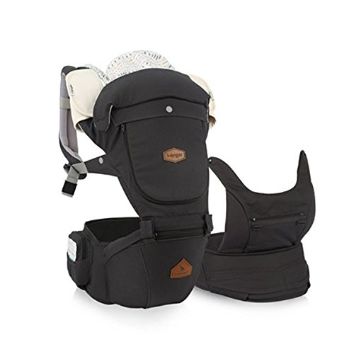 I-angel Miracle Baby Carrier Hipseat Front Backpack Carrier Ergonomic Design for Parents,Sleeping Hood,Organic Cotton teething Pads (Charcoal-Gray) by I-angel