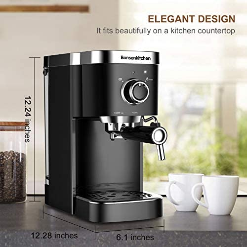 Espresso Machine 20 Bar Coffee Machine With Foaming Milk Frother Wand, 1450W High Performance No-Leaking 1.25 Liters Removable Water Tank Coffee Maker For Espresso, Cappuccino, Latte, Machiato, For Home Barista BZ-US-CM8001