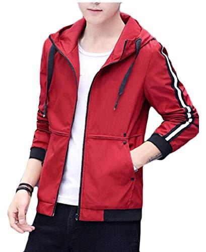 Hop Slim Hooded Coat Windbreaker Fit Gocgt Red Jacket Jackets Men Hip AxqE6nHaw