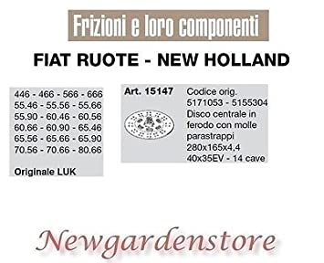 Disco Embrague 40 X 35ev 14 huecas 446 566 55.46 60.46 Luk 15147 Fiat New Holland: Amazon.es: Bricolaje y herramientas