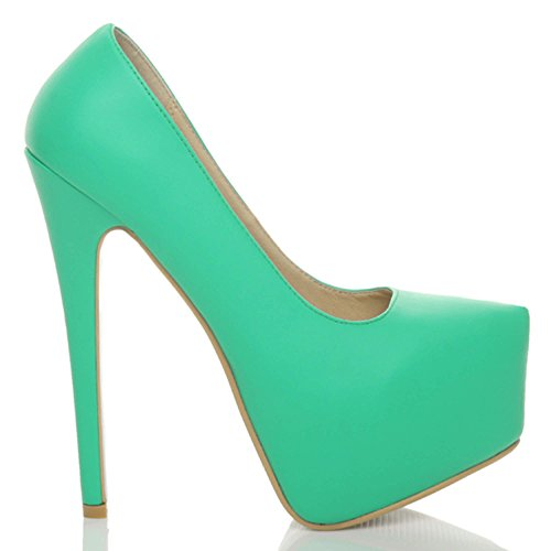 Hoher Größe Matt Verdeckter Sehr Plateausohle Absatz Schuhe Party Pumps Damen Grün