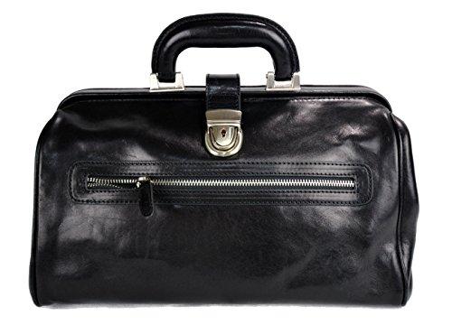 Leather doctor bag medical bag handbag ladies men leatherbag vintage medical bag retro doctor bag made in Italy luxury bag weekender black by ItalianHandbags