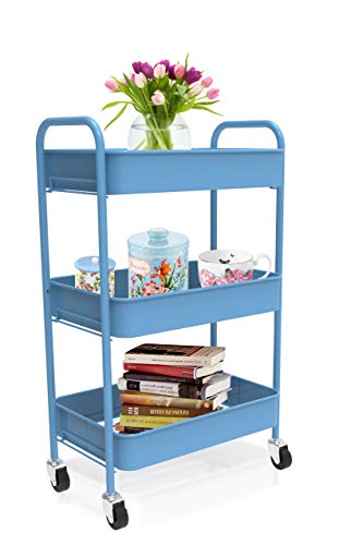 CAXXA 3-Tier Rolling Metal Storage Organizer - Mobile Utility Cart with Caster Wheels, Blue