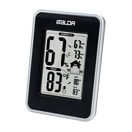 BALDR Weather Station, Displays Humidity and Temperature, Min, Max, and Trend Indicator, Black