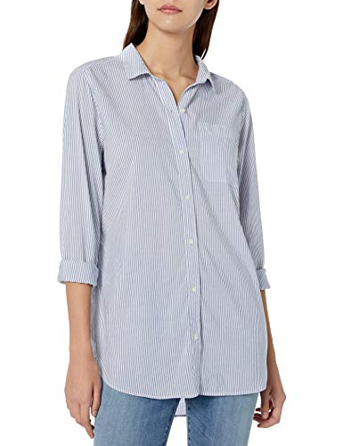 Amazon Brand - Goodthreads Women's Lightweight Poplin Long-Sleeve Boyfriend Shirt, White/Blue Stripe, Small (The White Stripes A Boys Best Friend)
