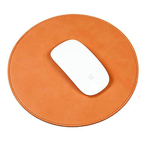 - Super Quality Leather Mouse Pad Home and Office Round Gaming Mouse Pad Double Piece Stitched Edge Anti-Slip Mouse Mat Pads for Laptop/PC/Computer (Light Brown)