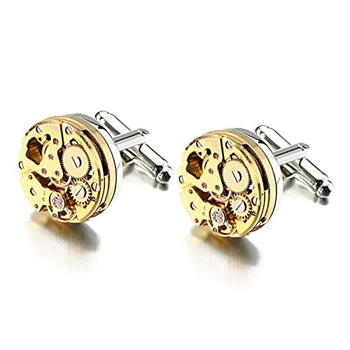 Watch Movement Cufflinks For Immovable Stainless Steel Steampunk Gear Watch Mechanism Cuff Links Mens Pure Gold Color