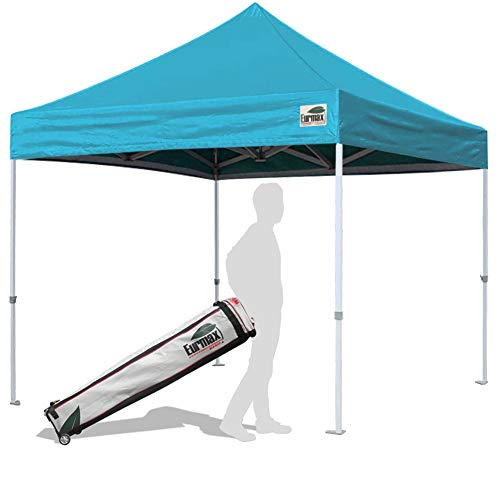 Eurmax 10'x10' Ez Pop Up Canopy Tent Commercial Instant Gazebo Outdoor Tent Roller Carry Bag (Turquoise)
