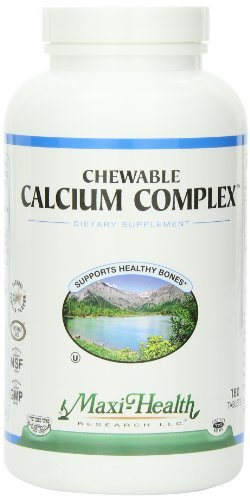 Maxi Health Chewable Calcium Complex - Support Healthy Bones - Vanilla Flavor - 180 Chewies - Kosher by Maxi-Health 180 Vanilla Chewables