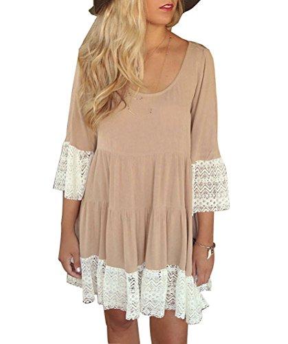 Wool Satin Sheath Dress (HowFitU Women Three Quarter Sleeve Solid Lace Loose Tank Sexy Cotton Mini)