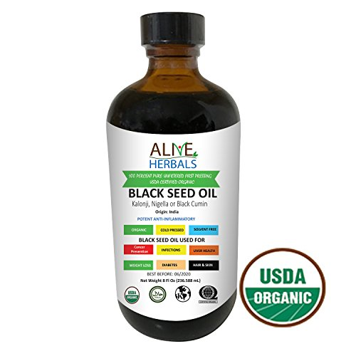 Alive Herbal Black Seed Oil - Egypt- Nigella Sativa - Virgin 100% Raw Organic Cold Pressed, Unfiltered, Vegan & Non-GMO, No Preservatives & Artificial Color- Glass Bottle 8 OZ.