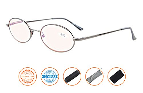 Anti Blue Rays,Reduce Eyestrain,UV Protection,Memory Bridge,Titanium,Oval Computer Reading Glasses for Men and Women(Gunmetal,Amber Tinted Lenses) (Oval Metal Reading Glasses)