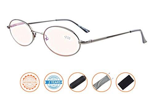 Anti Blue Rays,Reduce Eyestrain,UV Protection,Memory Bridge,Titanium,Oval Computer Reading Glasses for Men and Women(Gunmetal,Amber Tinted Lenses) - Metal Ray