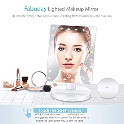 Makeup Mirror with Lights, Lighted Makeup Mirror with Detachable 10X Magnification, Touch Screen and Light Adjustable, 180° Rotation, Color Boxed, White