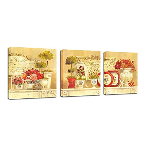AKLIG Canvas Paintings Wall Art European Luxury Retro for Living Room Bedroom Kitchen,20 X 20Inch X 3Pcs(No Frame)