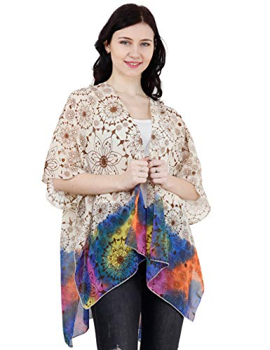 (TCWomen's Short Sleeve Beachwear Sheer Chiffon Kimono Cardigan Casual Capes Beach Cover up Blouse (Circles w/Border) )