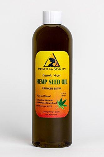 Hemp Seed Oil Unrefined Organic Virgin Carrier Cold Pressed Pure 24 ()