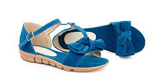 Sandales Femme AalarDom d'orteil TSFLG005140 Bleu Couleur Suédé Ouverture Unie Boucle RTqq0gCxw