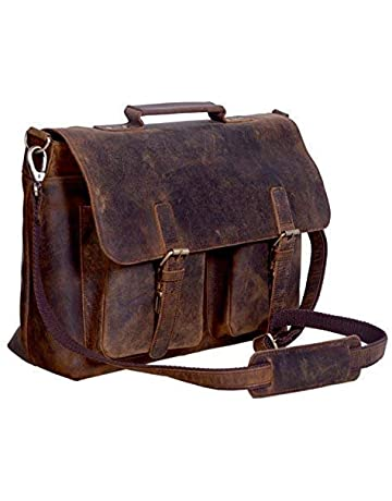 8356b7b3b614 KomalC 18 Inch Retro Buffalo Hunter Leather Laptop Messenger Bag Office  Briefcase College Bag for Men