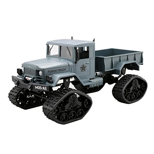 Alluing Four-wheel drive military card Strong power RC Military Truck Army 1:16 4WD Tracked Wheels Crawler Off-Road Car RTR Toy NEW (green)