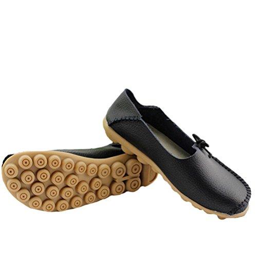 Mordenmiss Casual Effen Kleur Moccasins Lederen Loafer Schoenen Style 1-zwart