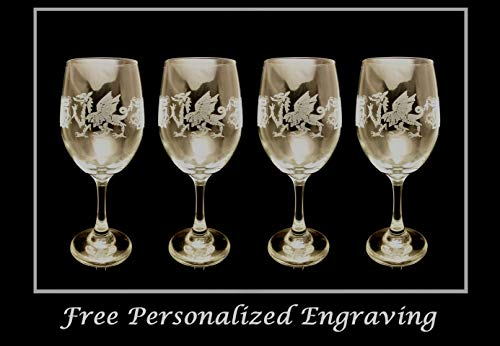 Celtic Welsh Dragon Clear Wine Glass Set of 4 - Free Personalized Engraving
