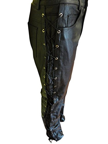 Men's Thick Soft Black Leather Side Laces Pant 5 Pockets Jeans