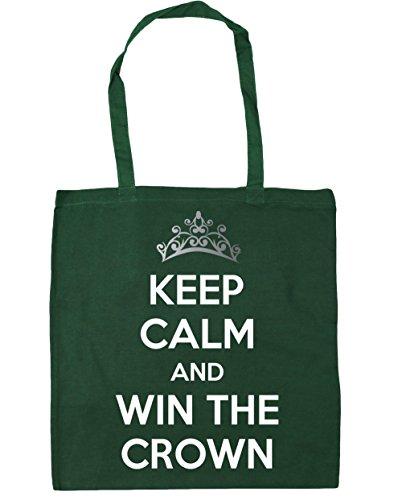 HippoWarehouse Keep calm and carry on y ganar la corona Tote Compras Bolsa de playa 42cm x38cm, 10litros verde oscuro
