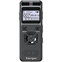 Digital Voice Activated Recorder,Yaergor 8GB 1536Kbps Sound Audio Recorder Dictaphone for Lectures Meetings Interviews,Double Stereo Microphone