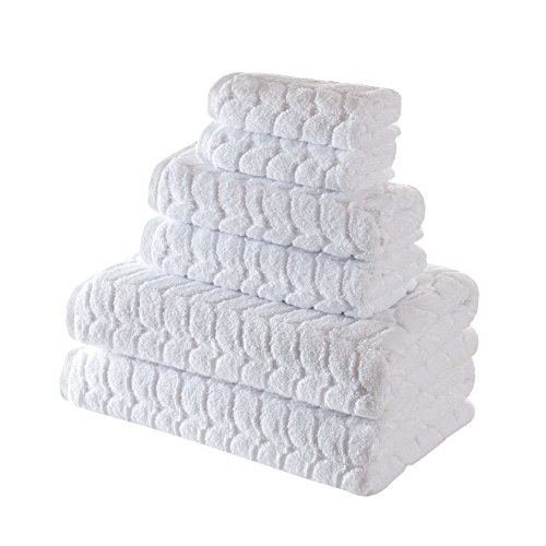 (Bagno Milano Jacquard-Woven Towels - Ultra-Absorbent & Fast-Drying Spa Towels - Non-GMO Turkish Cotton Towels - Durable & Plush Luxury Towels - Eco-Friendly Towels - Soft Spa Towel Bundle- White 6 Pcs)