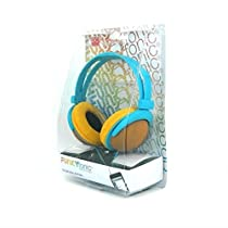 TopOne DCI Colorful Headphones Funkyfonic iPhone Blue Yellow MP3 Kids Bright Wired Ear