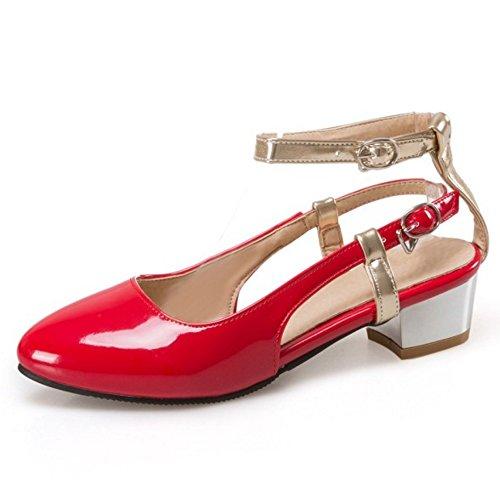 Block COOLCEPT Toe Sandalen Closed Damenmode Schuhe Ferse Größe Mitte Rot Knöchelriemen wwp4TH
