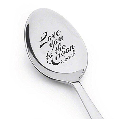 I Love to the Moon and Back Spoon- Best Selling Item - Gift for Him - Gift for Her - Lovers Gift - Spoon Gift by Boston Creative company LLC