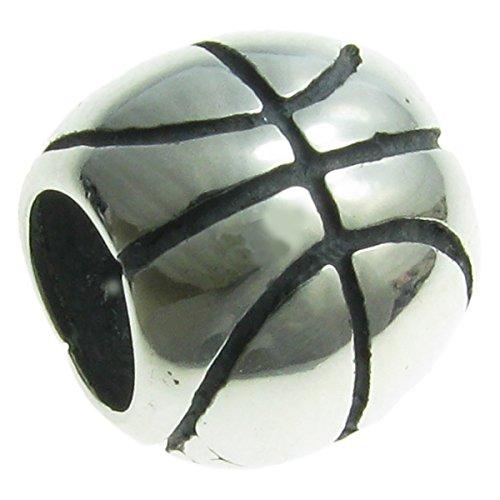 .925 Sterling Silver Basketball Sport Bead Charm For European Charm (Silver Basketball Bracelet)
