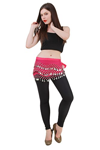 Belly Dance Hip Scarf Wrap Belt Tribal Sash Skirt SILVER Coins Halloween Costume (Zumba Halloween Costume)