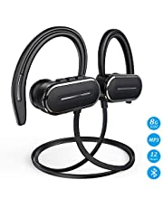 Bluetooth Headphones, HSPRO Bluetooth Earbuds, IPX5 Sweatproof Running Workout Headphones w/Mic, HD Stereo Sound Sport Earphones Earbuds, 8GB Built-in Memory MP3 Player, 12H Playtime