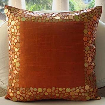 The HomeCentric Luxury Rust Pillows Cover, Metal Sequins Bordered Throw Pillows Cover, Throw Pillow Covers 20 x20 , Bordered Modern Pillows Cover, Square Silk Pillows Cover – Rust Glamor