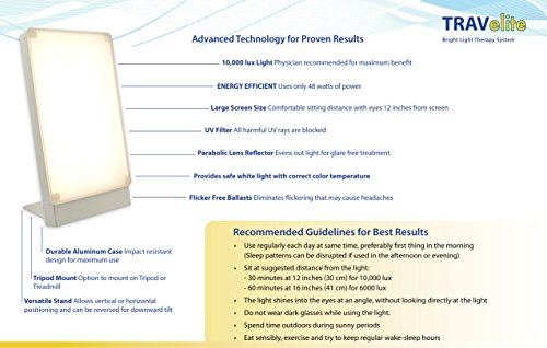 Northern Light Technology Travelite 10,000 Lux Bright Light Therapy Portable Light Box, Beige