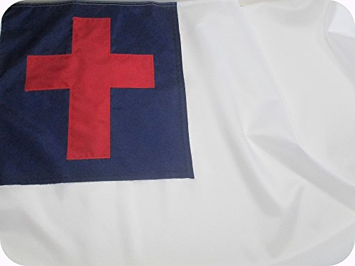 Christian Flag 5x8 ft - Beautiful Outdoor Christian Flag Fully Sewn Using Durable All Weather Fade Resistant Premium SOLARMAX Nylon with Appliqued Christian Cross 100% Made in USA
