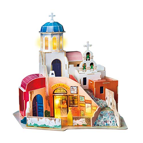 Rolife 3D Wooden Puzzle,LED House Model,Miniature DIY Dollhouse Decorations-City Architecture 3D Puzzle Series-Best Birthday Gifts for Women and Girls (Aegean Sea)