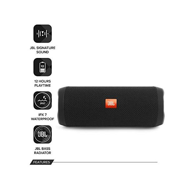 JBL Flip 4 - enceinte Bluetooth Portable Robuste - Étanche Ipx7 pour Piscine & Plage - Autonomie 12 Hrs - Qualité Audio JBL - Noir 2