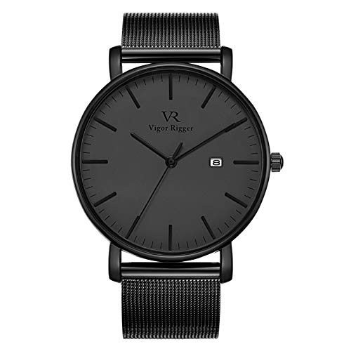 Vigor Rigger Mens Analog Quartz Watches Minimalist Ultra Thin Black Watches for Men with Date Display and Milanese Mesh Band