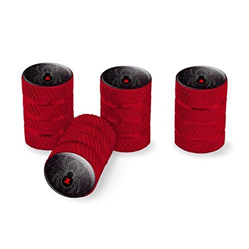 Graphics and More Black Widow Spider on Web Tire Rim Wheel Aluminum Valve Stem Caps - Red