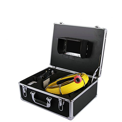 Pipe Wall Sewer Inspection Snake Camera ,EletecPro Waterproof IP68 30M/100ft Drain Industrial Endoscope Video Inspection System 7 Inch LCD Monitor 1000TVL DVR Recorder Video (Wit 8GB TF Card)